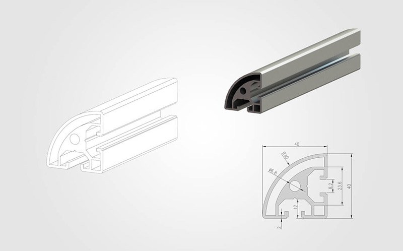 4040R T-slotted Aluminum Profile