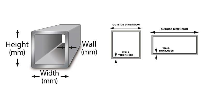 aluminum rectangular tubing size