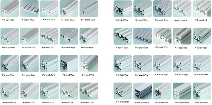 Different sizes of t slot aluminum extrusion